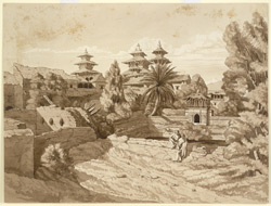 Inscribed on reverse:  'Rajah Sidri Nur Singh's tank & Summer House, in the Garden at the rear of the Durbar, Patun - constructed AD 1647.  March 1853'